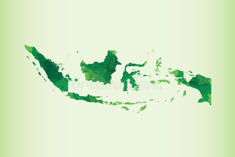 Indonesia watercolor map vector illustration of green color on light background using paint brush in paper page stock illustration