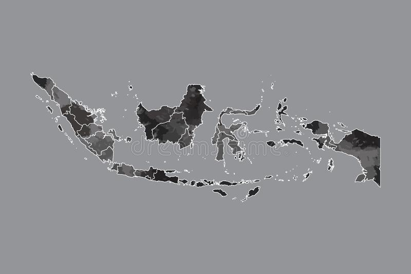 Indonesia watercolor map vector illustration of black color with border lines of different provinces or divisions on dark. Background using paint brush in page royalty free illustration