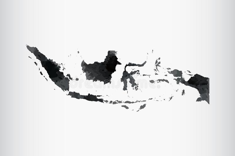 Indonesia watercolor map vector illustration of black color on light background using paint brush in paper page stock illustration