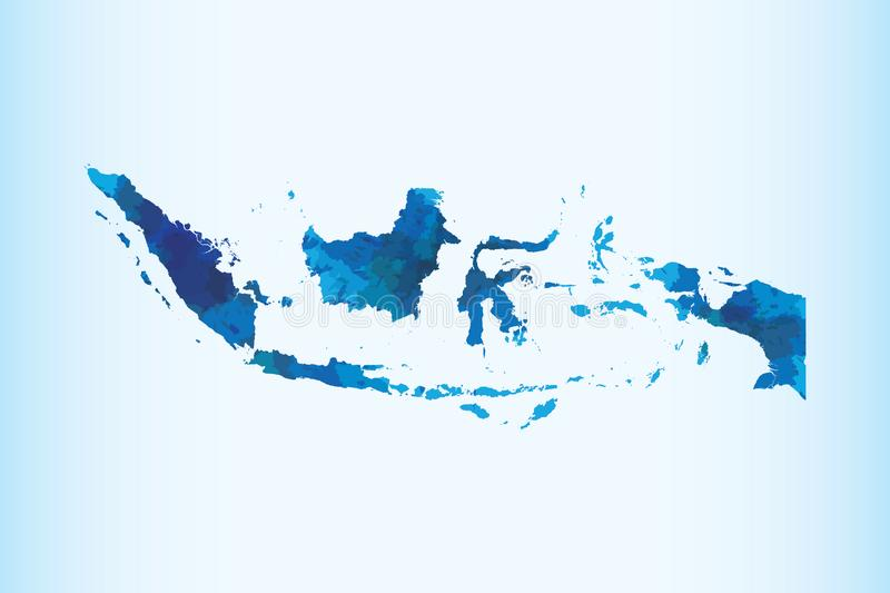 Indonesia watercolor map vector illustration of blue color on light background using paint brush in paper page royalty free illustration