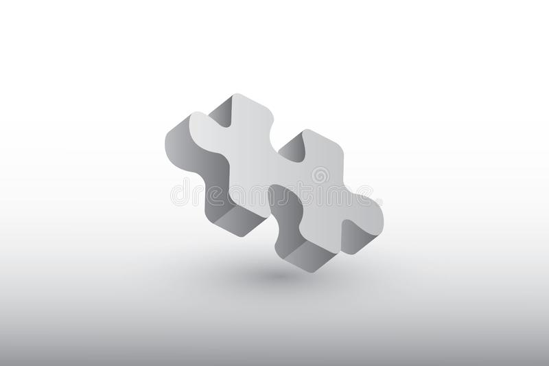 A piece of jigsaw puzzle vector illustration in gray color on white background to show strategy of team in business and industry royalty free illustration