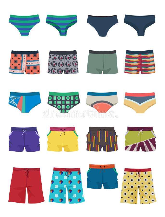 A set of men`s swimming trunks and shorts vector illustration