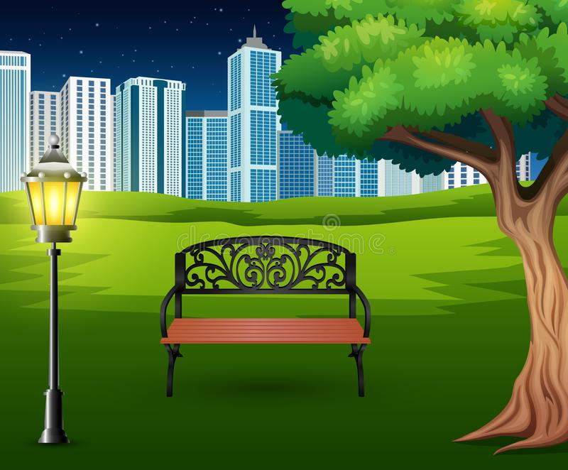 Cartoon of chairs in green park with town building background. Illustration of Cartoon of chairs in green park with town building background vector illustration
