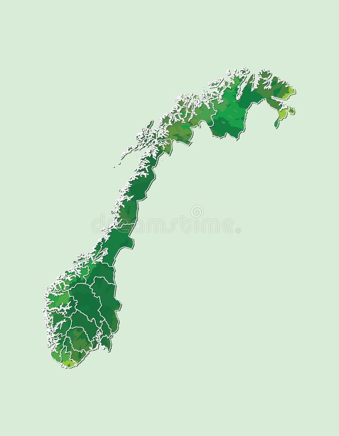 Norway watercolor map vector illustration of green color with border lines of different regions or counties on light background. Using paint brush in page vector illustration