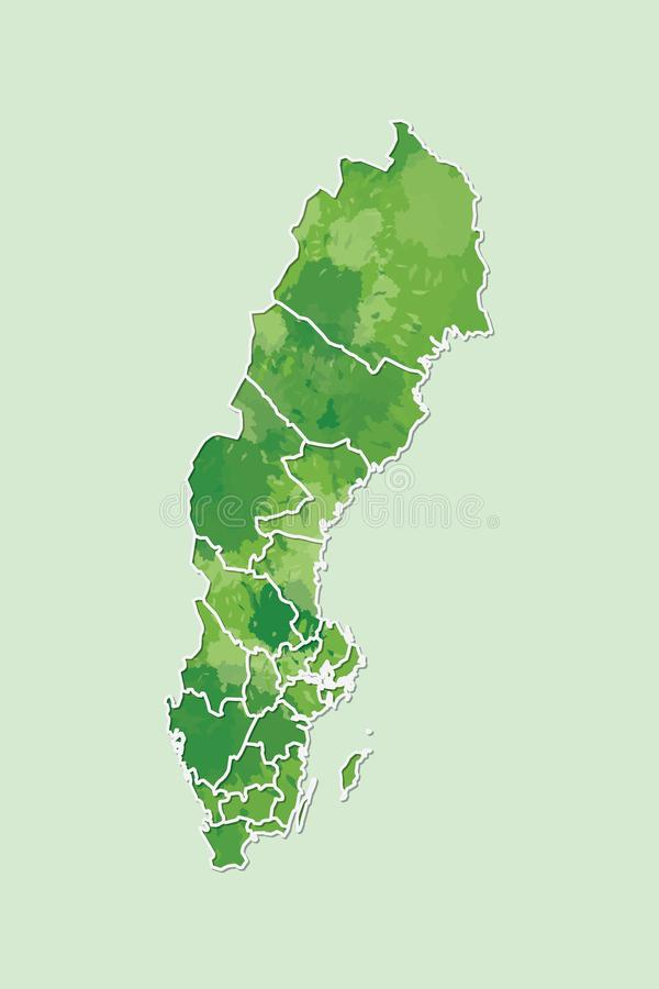 Sweden watercolor map vector illustration of green color with border lines of different regions or provinces on light background. Using paint brush in page royalty free illustration