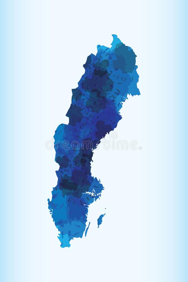 Sweden watercolor map vector illustration of blue color on light background using paint brush in paper stock illustration
