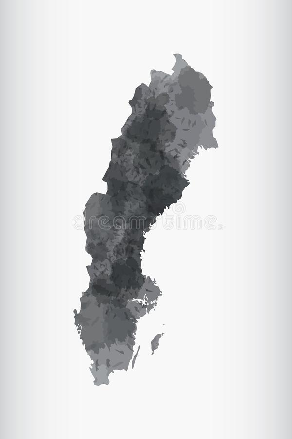 Sweden watercolor map vector illustration of black color on light background using paint brush in paper vector illustration