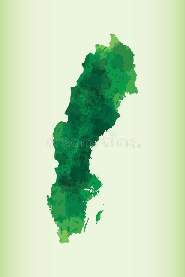 Sweden watercolor map vector illustration of green color on light background using paint brush in paper vector illustration