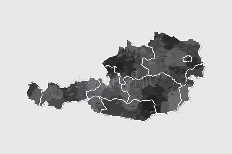 Austria watercolor map vector illustration of black color with border lines of different regions or states on light background. Using paint brush in page vector illustration