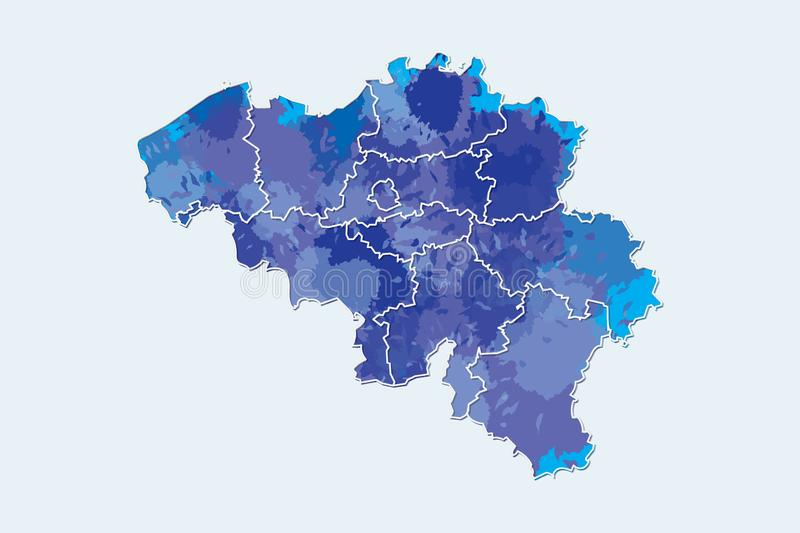 Belgium watercolor map vector illustration of blue color with border lines of different regions or provinces on light background. Using paint brush in page vector illustration