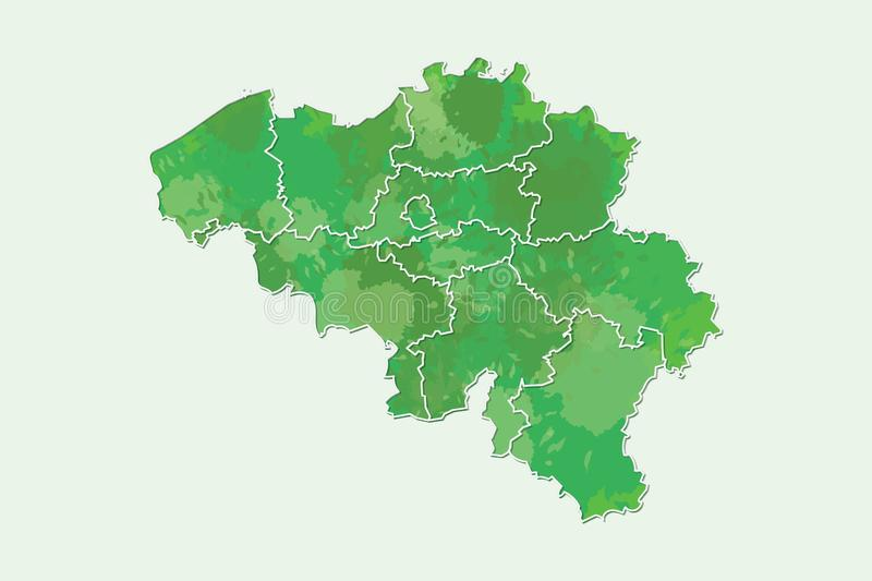 Belgium watercolor map vector illustration of green color with border lines of different regions or provinces on light background. Using paint brush in page royalty free illustration