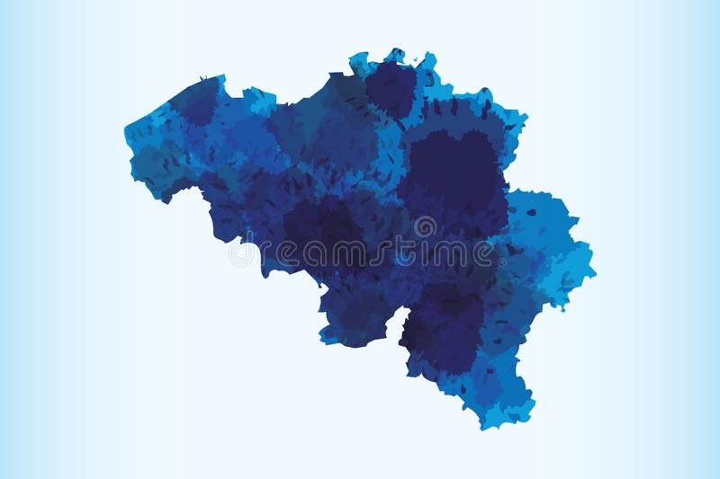 Belgium watercolor map vector illustration of blue color on light background using paint brush in paper stock illustration