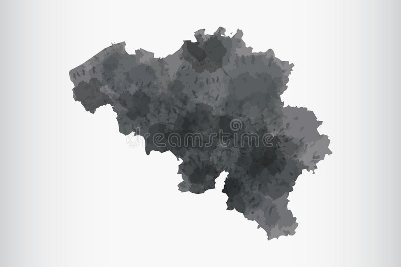 Belgium watercolor map vector illustration of black color on light background using paint brush in paper royalty free illustration