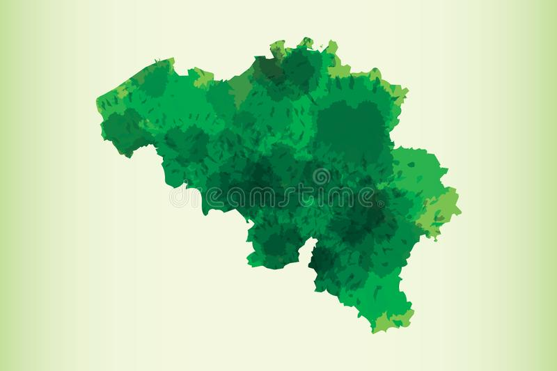 Belgium watercolor map vector illustration of green color on light background using paint brush in paper vector illustration