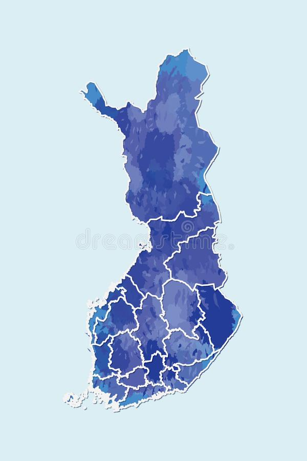 Finland watercolor map vector illustration of blue color with border lines of different regions or provinces on light background. Using paint brush in page vector illustration