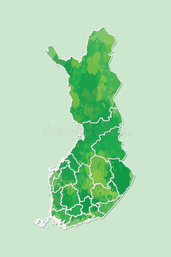 Finland watercolor map vector illustration of green color with border lines of different regions or provinces on light background. Using paint brush in page vector illustration
