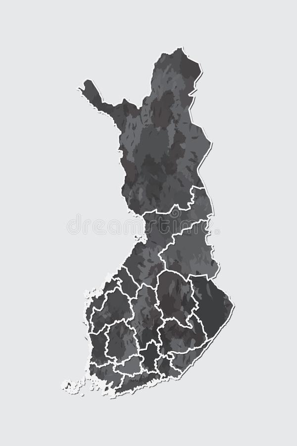 Finland watercolor map vector illustration of black color with border lines of different regions or provinces on light background. Using paint brush in page vector illustration