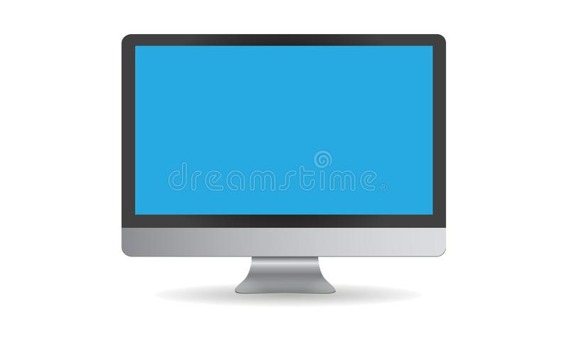 Computer monitor vector design with blue screen. On white background. You can use it for mock up royalty free illustration