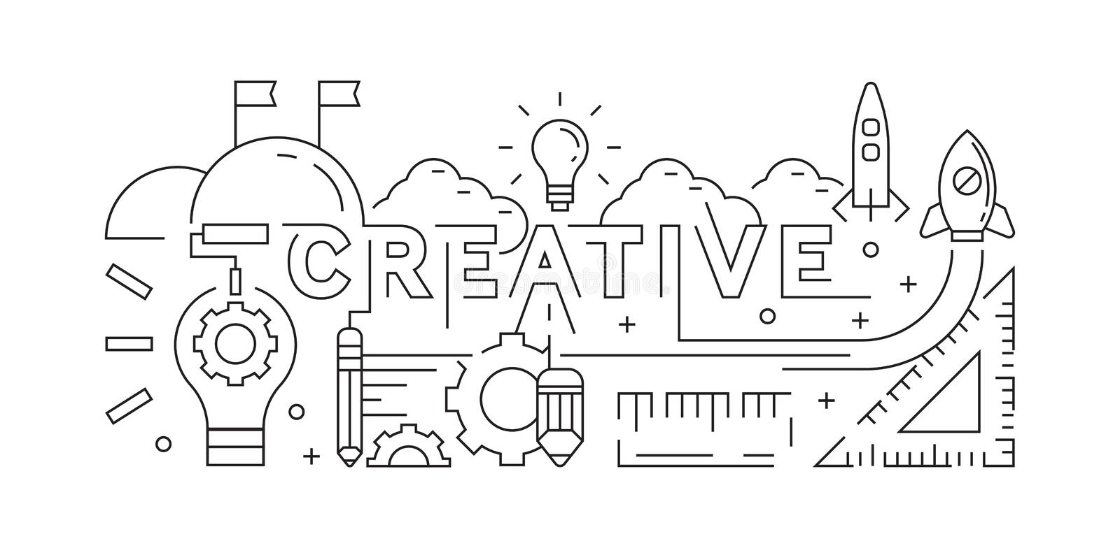 Creative Concept. Line Art Design. Background, Banner, or Landing Page. Youth Doodle Style. Vector Design Black and White. Background, Banner, or Landing Page stock illustration