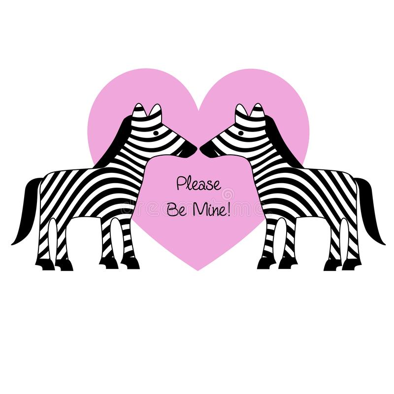 valentines day zebras with pink heart vector illustration stock illustration