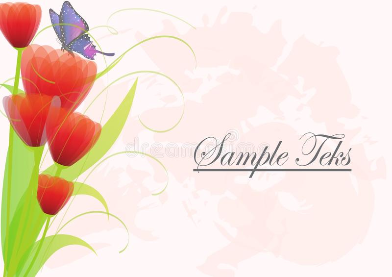 Floral pink background with red flower rose and butterfly. Invitation or greeting card stock illustration