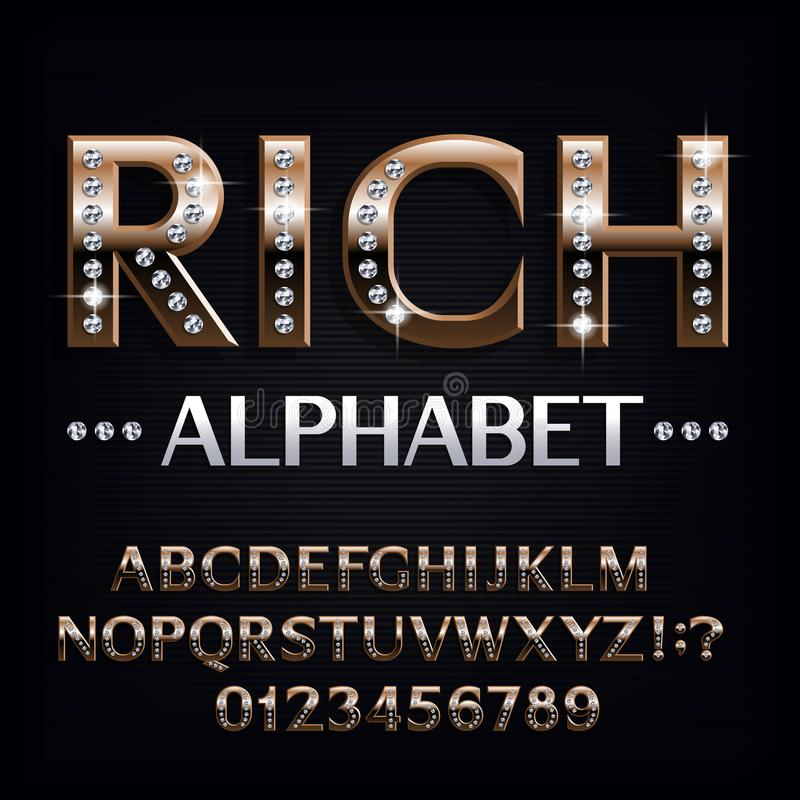 Rich alphabet font. Ornate golden letters and numbers with diamond gemstones. Stock vector typescript for your design vector illustration