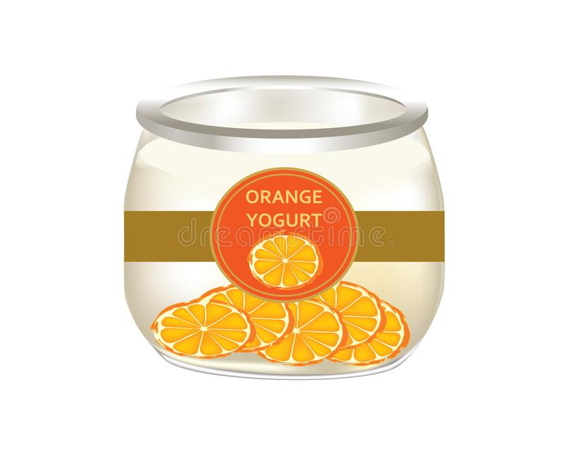 Natural yogurt with oranges slices. In a glass jar on white background vector illustration