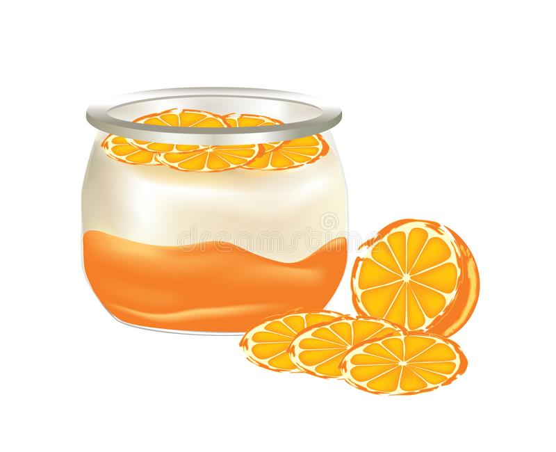 Natural yogurt with oranges slices. In a glass jar on white background stock illustration