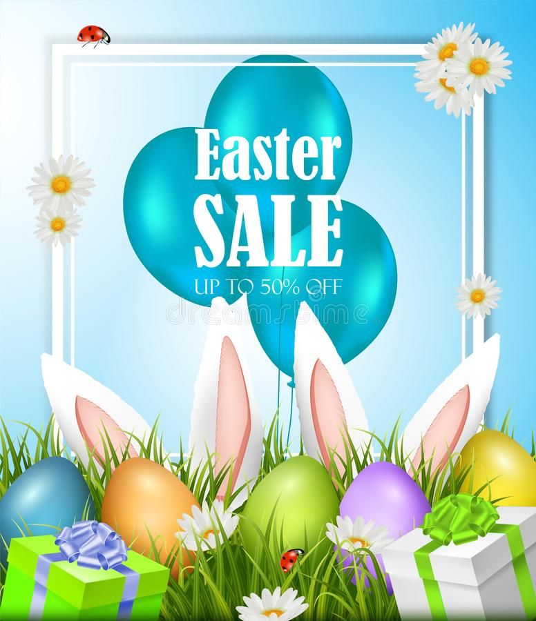 Easter sale poster with eggs and rabbits. Vector royalty free illustration