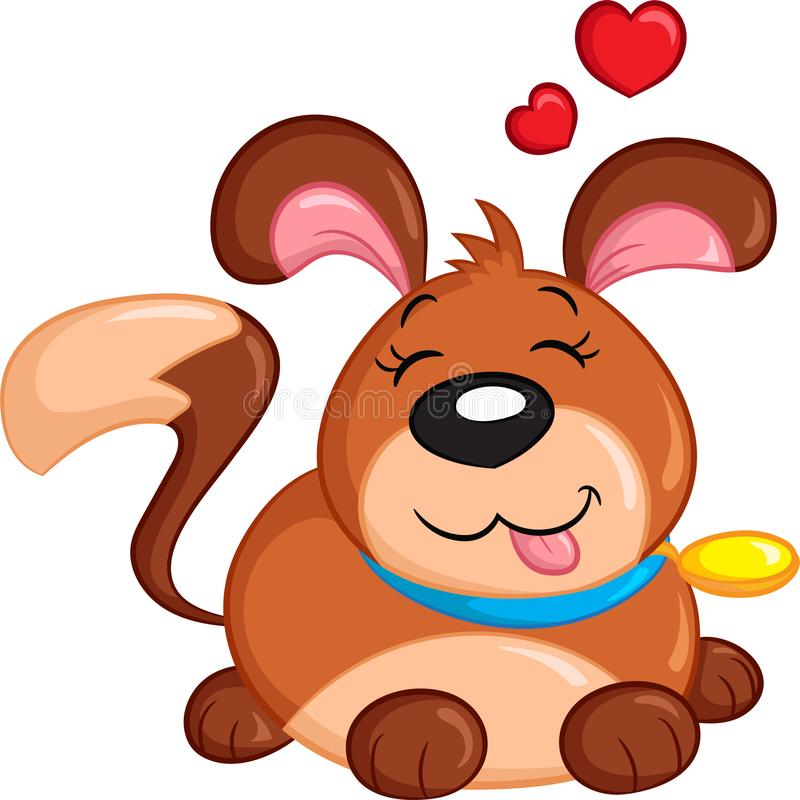 Cute color Kawaii puppy with hearts over head, perfect for children`s book, or Valentine`s Day card. Adorable color kawaii illustration of a cute little dog stock illustration