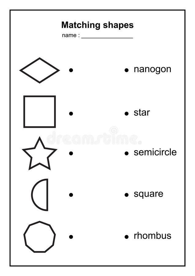 Geometry shape matching game. educational geometric shapes game. printable learning material for kids . black and white printables vector illustration