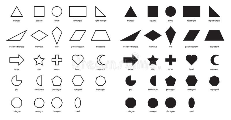 2D Shapes Educational Chart Poster. Shapes Basic Chart. printable learning material for kids . Black and white printables game. Shapes For Kids illustration vector illustration