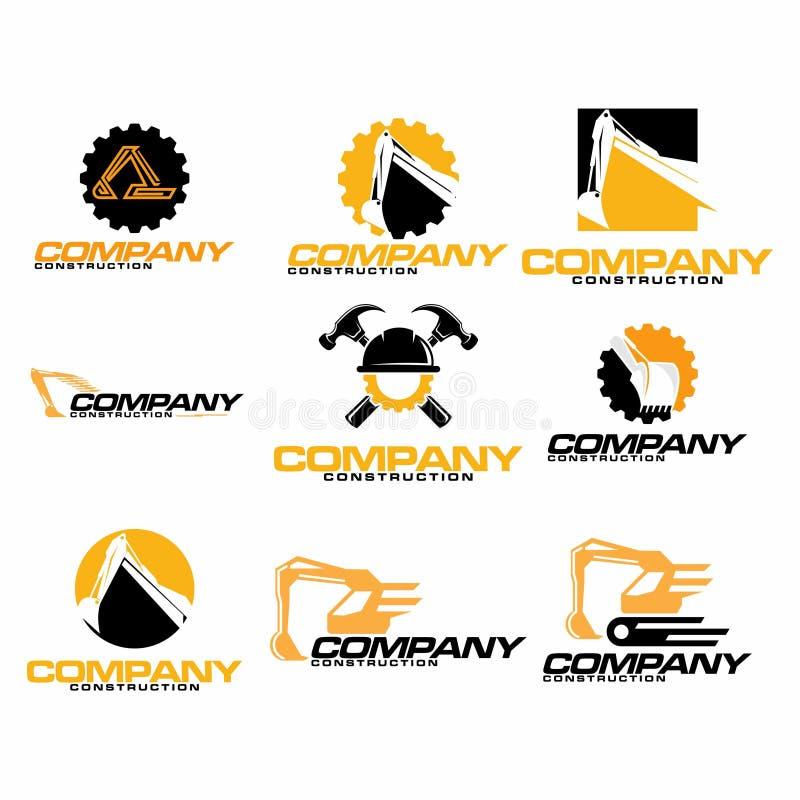 Set of engineering and excavator logo design template. Set of excavator logos, emblems and badges isolated on white background. Constructing equipment design royalty free illustration