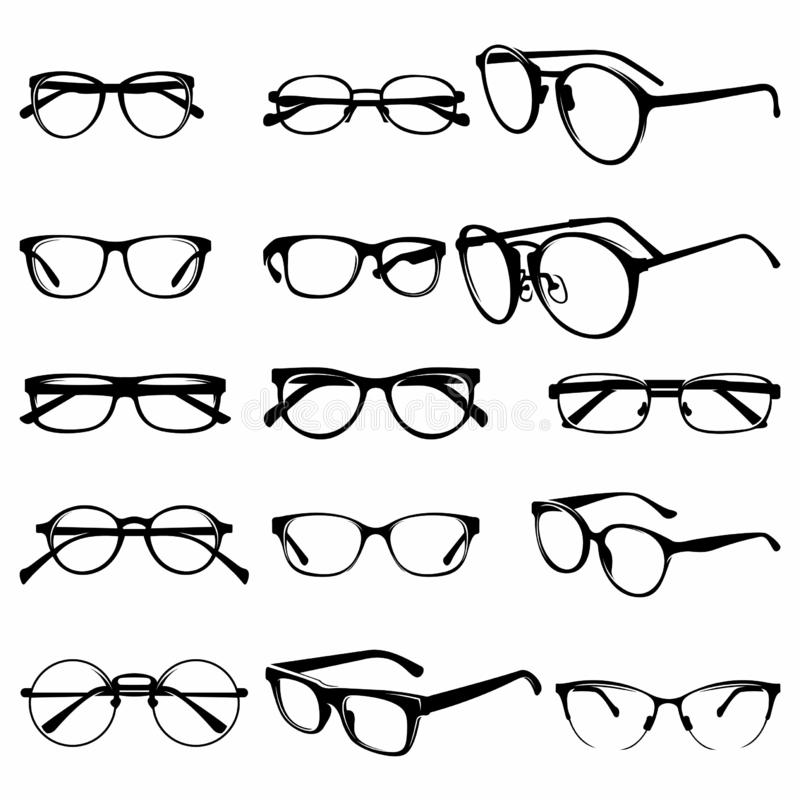 Set of Various stylish Eye Glasses Frame Silhouette vector illustration - Vector stock illustration