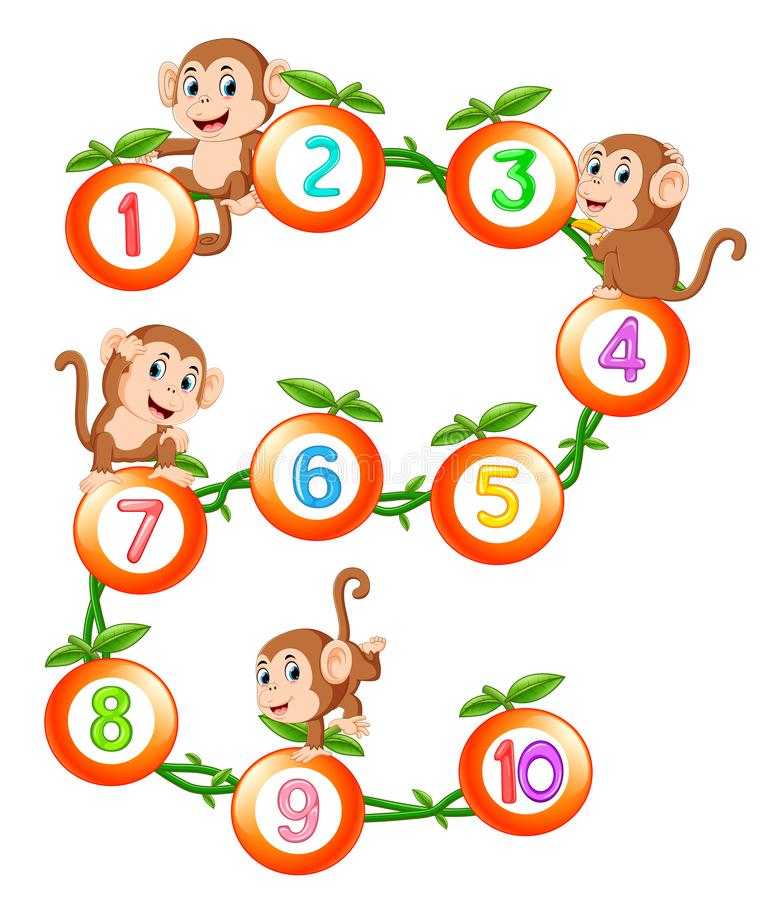 Let`s count to ten with fruit and monkey. Illustration of Let`s count to ten with fruit and monkey royalty free illustration
