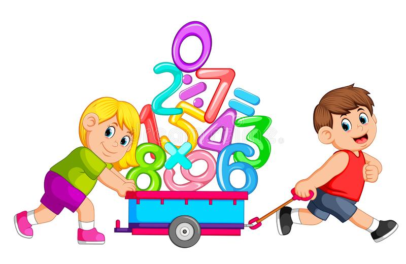 Boy pulling and girl pushing wagon of numbers royalty free illustration