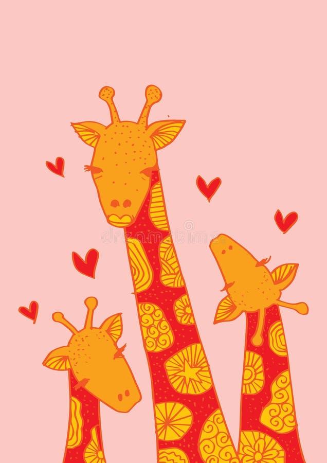 Cute Baby Giraffe And Mom Stock Vector Illustration Of