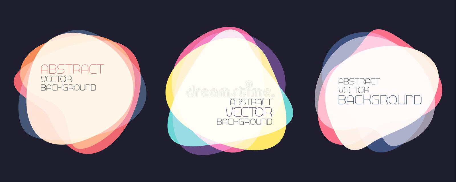 Set of abstract shapes. Colorful banners overlay shapes. Stock vector background vector illustration