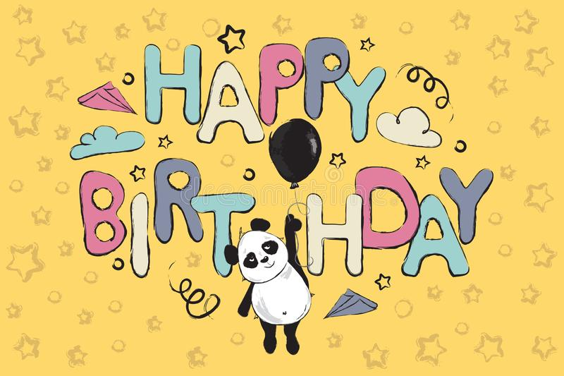 Happy birthday greeting card design with cute panda bear and quote stock illustration