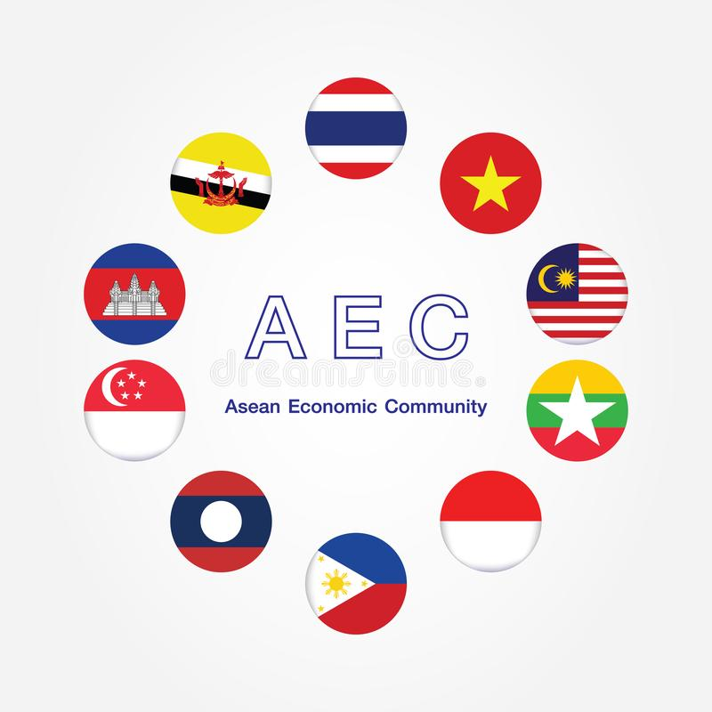 AEC Asean Economic Community flag symbols. Vector illustration. AEC Southeast Asia flag icon, vector illustration. stock illustration