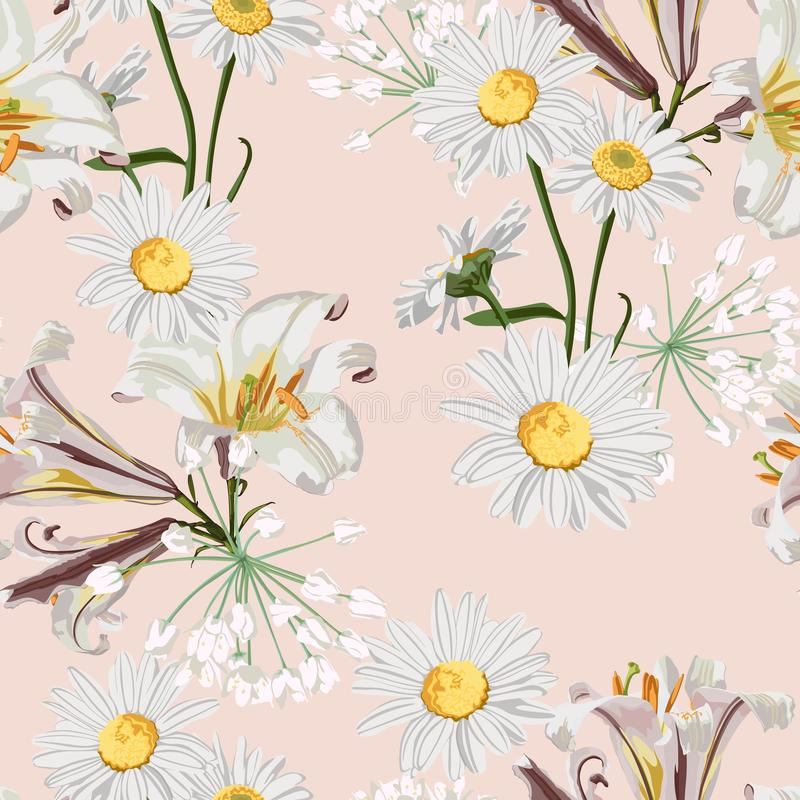 Spring flower seamless pattern with beautiful lilies and chamomile flowers on beige background template. vector illustration