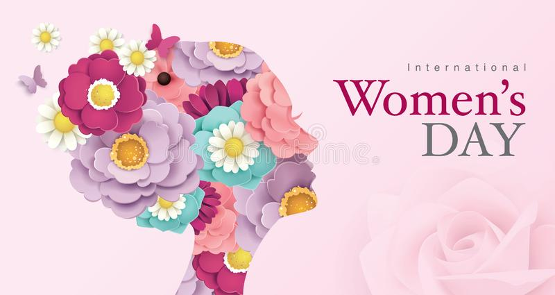 Happy Women`s Day. International Women`s Day poster design with women`s side face silhouette and blossom flowers vector illustration