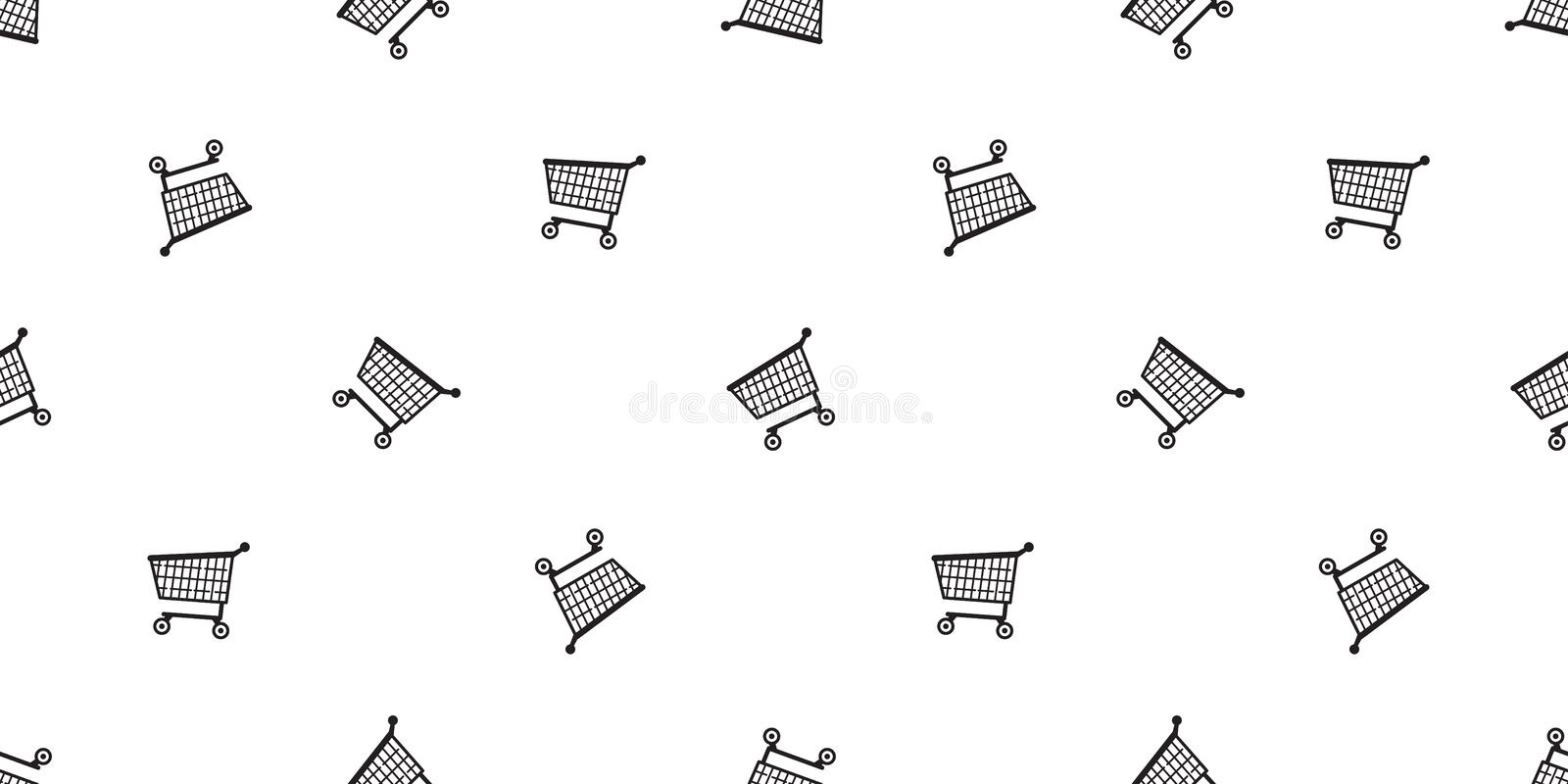 Shopping cart seamless pattern vector basket bag scarf isolated repeat wallpaper tile background illustration gift wrap paper royalty free illustration