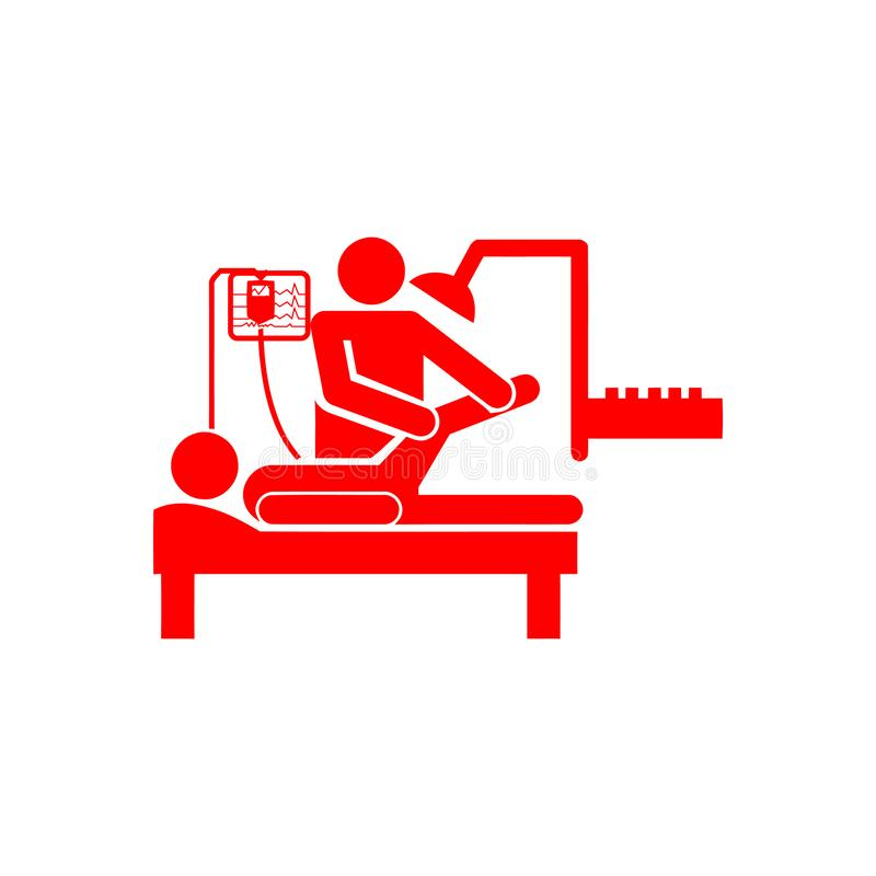 Doctor and patient , leg treatment , leg break red icon. Icon, leg, treatment, line, vector, foot, massage, spa, pain, illustration, medical, body, care, human royalty free illustration