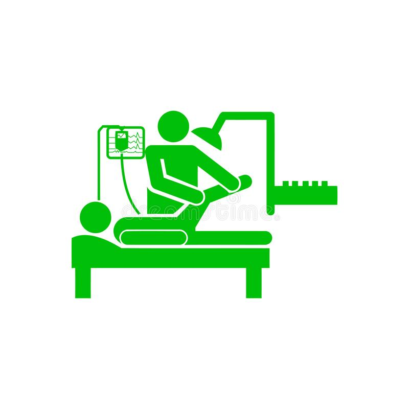 Doctor and patient , leg treatment , leg break green icon. Icon, leg, treatment, line, , foot, massage, spa, pain, illustration, medical, body, care, human royalty free illustration