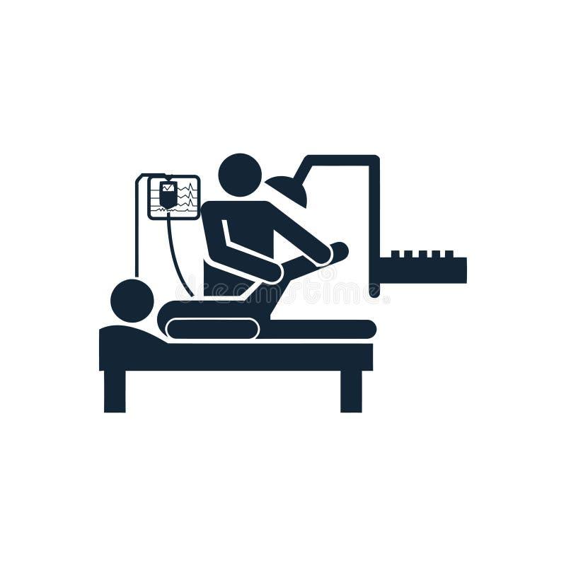 Doctor and patient , leg treatment , leg break icon. Icon, leg, treatment, line, vector, foot, massage, spa, pain, illustration, medical, body, care, human stock illustration
