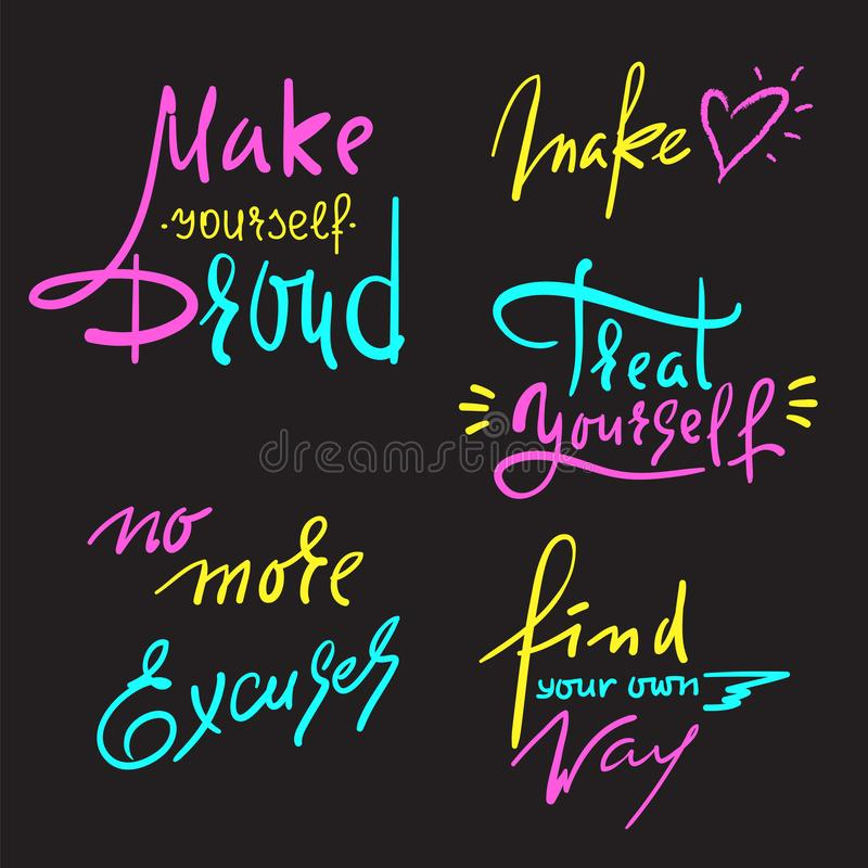Set of inspire and motivational quotes. Hand drawn beautiful calligraphy signs. vector illustration