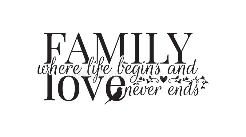 Family where life begins, and love never ends, Wall Decals, Wording Design vector illustration