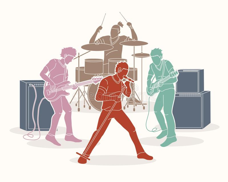 Musician playing music together, Music band royalty free illustration