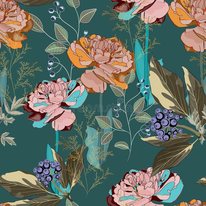 Spring bouquets on the vintage dark green background. Seamless pattern with delicate flowers. vector illustration